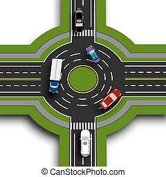 Información de carretera. Vista superior 3D perspectiva. Intercambio de carretera, rotondas. Esto muestra el movimiento de los coches. Paseos y cruces. Ilustración