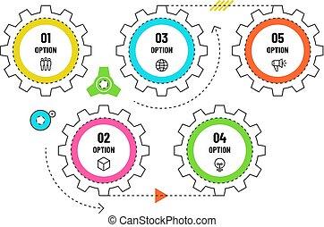 Información de engranajes. El concepto de la línea de tiempo de ingeniería con 5 opciones. Diagrama de flujo de trabajo, vector de flujo de vectores de flujo, plantilla de datos