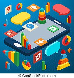 Información de smartphone isométrico