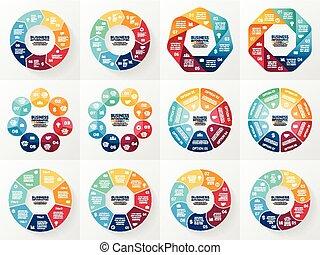 Información de vectores. Colección de plantillas para ciclo diagrama, gráfico, presentación y gráfico. Concepto de negocios con 7 y 8 opciones, partes, pasos o procesos. Trasfondo abstracto.