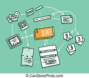 información digital, datos, algorithm, reunión, búsqueda