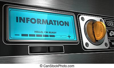 Información en exhibición de máquina expendedora.