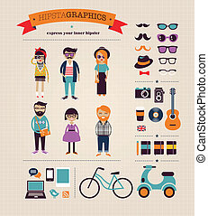 información, gráfico, iconos, concepto, hipster, plano de fondo