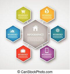 información, gráficos, -, hexágono