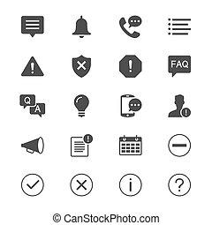 información, notificación, plano, iconos