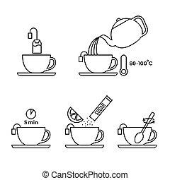 información, sobre, gráfico, limón, contorno, té, uso, empaquetado, preparación, icono