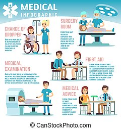 Información sobre vectores de salud con enfermeras del personal médico, médicos y pacientes en el hospital
