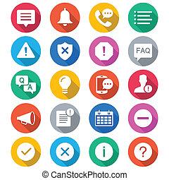 Información y notificación de iconos de colores planos