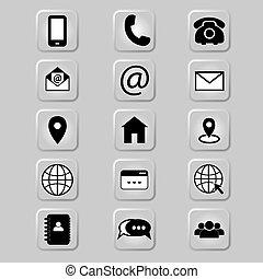 information., botón, dirección, icon., teléfono, neumorphism, contactos, ilustración, célula, contacto, usuario, email, address-book, número, gris, información, aislado, plano de fondo, o