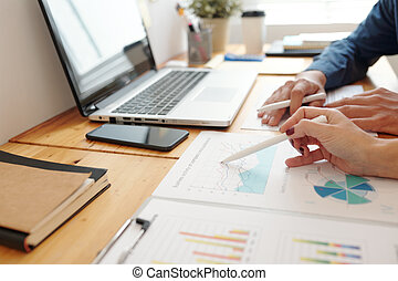 informe, actividad, empresarios, discutir negocio