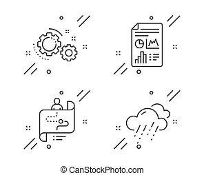 Informe de documentos, Journey Way y Gears iconos establecidos. Señal de tiempo lluvioso. Vector