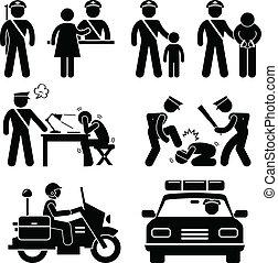 informe, estación, policía, policía