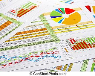 informe, gráficos, diagramas