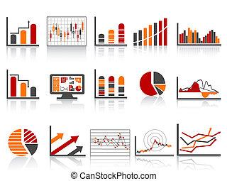 informes, financiero, icono, color administración, simple