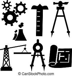 ingeniería, conjunto, icono