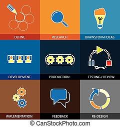 Ingeniería de software, planificación de proyecto - vector concepto lin plana