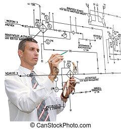 ingeniería, diseñar, esquema