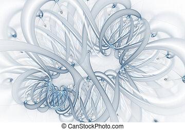 Ingeniería genética y concepto de manipulación genética. Moléculas de ADN y cromosomas, hebras de ADN, moléculas o átomos, neuronas.
