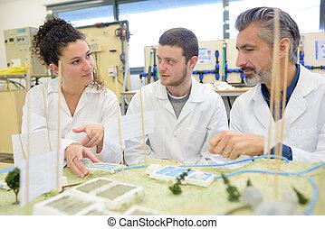 ingeniero, estudiantes, civil, profesor