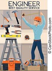 ingeniero, ingeniería, herramientas, trabajo de construcción