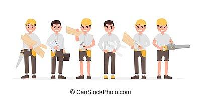 ingeniero, plano, estilo, joiners, muchos, woodworkers., vector, vario, ilustración, capataz, equipo, carpinteros
