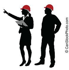 Ingeniero y capataz trabajando