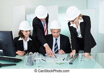 ingenieros, reunión, o, arquitectos, estructural