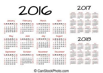 inglés, 2016-2017-2018, calendario