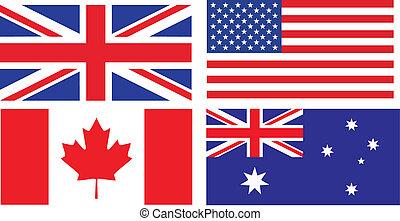 inglés, banderas, oratoria, países