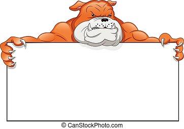 inglés, muestra en blanco, bulldog, caricatura