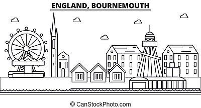 Inglaterra, Arquitectura Bournemouth línea de ilustración en línea aérea. Vector lineal Cityscape con puntos de referencia famosos, vistas de la ciudad, iconos de diseño. Landscape wtih derrames editables