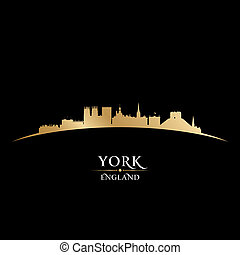 inglaterra, fondo negro, contorno, ciudad, york, silueta