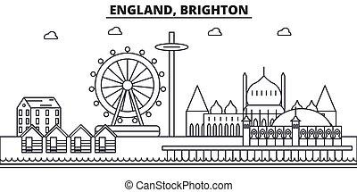 Inglaterra, línea de arquitectura de Brighton ilustración en el horizonte. Vector lineal Cityscape con puntos de referencia famosos, vistas de la ciudad, iconos de diseño. Landscape wtih derrames editables