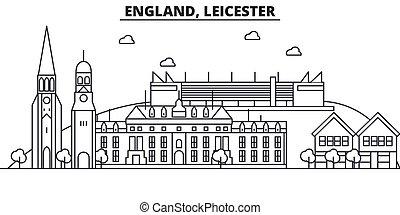 Inglaterra, línea de arquitectura de Leicester ilustración en línea aérea. Vector lineal Cityscape con puntos de referencia famosos, vistas de la ciudad, iconos de diseño. Landscape wtih derrames editables