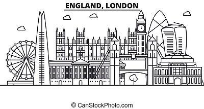 Inglaterra, línea de arquitectura de Londres ilustración en el horizonte. Vector lineal Cityscape con puntos de referencia famosos, vistas de la ciudad, iconos de diseño. Landscape wtih derrames editables