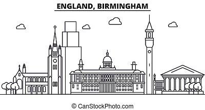 Inglaterra, la línea de arquitectura de Birmingham ilustración en el horizonte. Vector lineal Cityscape con puntos de referencia famosos, vistas de la ciudad, iconos de diseño. Landscape wtih derrames editables