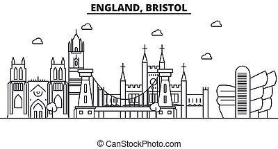 Inglaterra, la línea de arquitectura de Bristol ilustra la ilustración en el horizonte. Vector lineal Cityscape con puntos de referencia famosos, vistas de la ciudad, iconos de diseño. Landscape wtih derrames editables