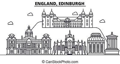 Inglaterra, la línea de arquitectura de Edimburgo ilustración en el horizonte. Vector lineal Cityscape con puntos de referencia famosos, vistas de la ciudad, iconos de diseño. Landscape wtih derrames editables