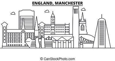 Inglaterra, la línea de arquitectura de Manchester ilustrada en el horizonte. Vector lineal Cityscape con puntos de referencia famosos, vistas de la ciudad, iconos de diseño. Landscape wtih derrames editables
