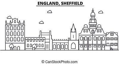 Inglaterra, la línea de arquitectura de Sheffield ilustración en el horizonte. Vector lineal Cityscape con puntos de referencia famosos, vistas de la ciudad, iconos de diseño. Landscape wtih derrames editables