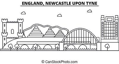 Inglaterra, nuevo castillo sobre la línea de arquitectura de Tyne ilustración en el horizonte. Vector lineal Cityscape con puntos de referencia famosos, vistas de la ciudad, iconos de diseño. Landscape wtih derrames editables