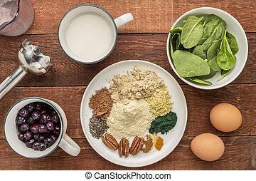 Ingredientes de batido de súper comida