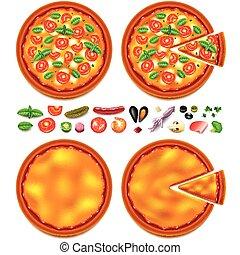 Ingredientes de pizza constructor de primera vista