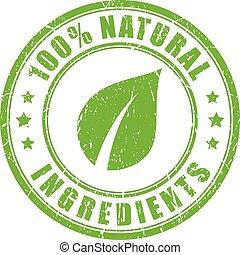 Ingredientes naturales sello de goma