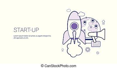 Iniciar concepto de negocio. Plantar la bandera web con espacio de copia