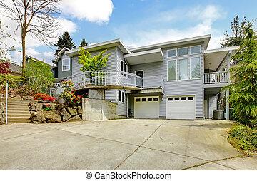 inmenso, area., casa, moderno, gris, grande, exterior, estacionamiento