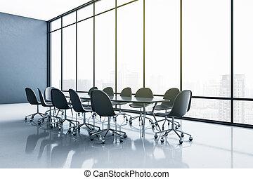 inmenso, espacioso, conferencia, ciudad, moderno, piso, interior, muebles, estilo, habitación, ventana, negro, brillante, vista