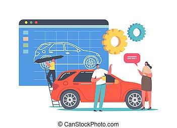 inmenso, prototipo, diminuto, creation., proceso, coche, pintura, transporte, modelo, automóvil, diseñador, carácter, prototyping