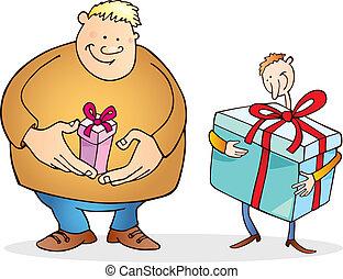 inmenso, regalo, grande, uno, delgado, pequeño, tipo, hombre