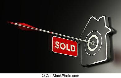 Inmobiliaria vendida concepto, estrategia de venta eficiente.